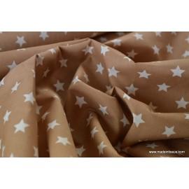 1 coupon de 55 cm de Tissu popeline coton beige étoiles blanches