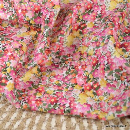 Tissu voile de coton Félicie fleurs rose - Oeko tex