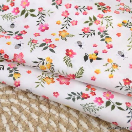 Tissu voile de coton Fostine fleurs rose - Oeko tex