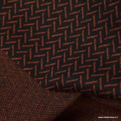 Tissu maille Jacquard motifs chevrons terracotta fond noir