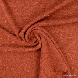 Jersey maille Lurex coloris terracotta