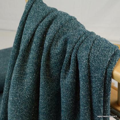 Jersey sparkling lurex maille tricot coloris pétrole