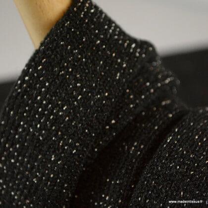 Jersey sparkling lurex maille tricot coloris Noir