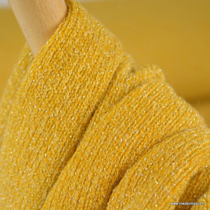 Jersey sparkling lurex maille tricot coloris Moutarde