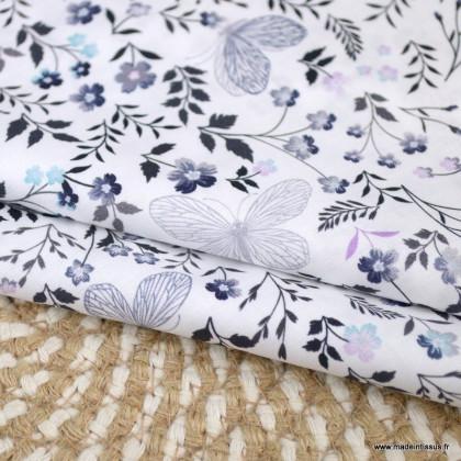 Tissu voile de coton Ferdinande fleurs et papillons lilas - Oeko tex
