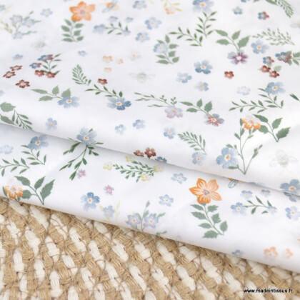 Tissu voile de coton Fostine fleurs céladon - Oeko tex