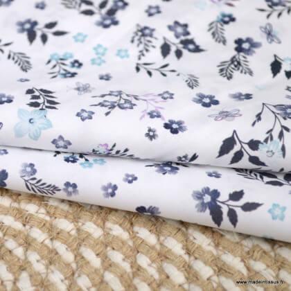 Tissu voile de coton Fostine fleurs lilas - Oeko tex