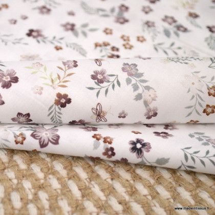 Tissu voile de coton Fostine fleurs tomette - Oeko tex