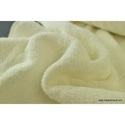 tissu Eponge coton ecru lisiere cousue fermée au mètre