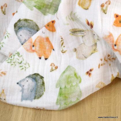 Tissu double gaze de coton animaux de la forêt fond blanc cassé - Oeko tex