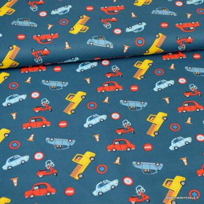 Tissu coton popeline motifs voitures fond bleu - oeko tex