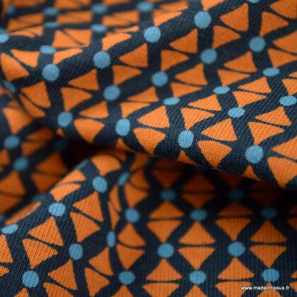 Tissu jersey motifs triangles graphique terra fond marine - oeko tex