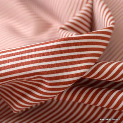 Tissu coton popeline à rayures terracotta et blanc - oeko tex