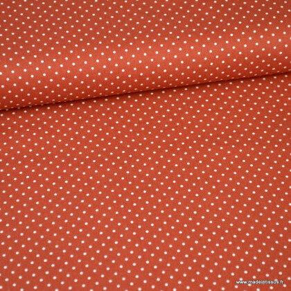 Tissu coton popeline à pois terracotta et blanc - oeko tex