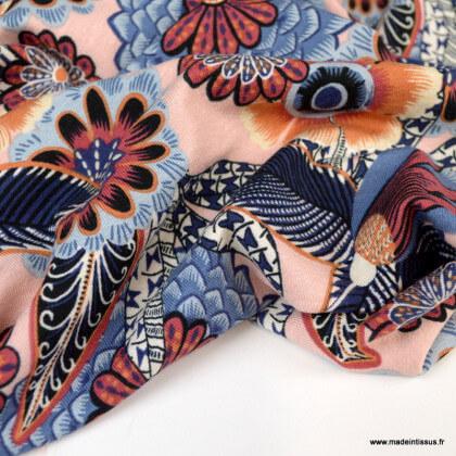 Tissu Jersey Viscose motif fleurs fond nude