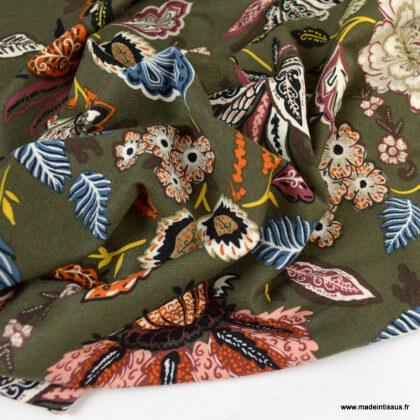 Tissu Jersey de Viscose motif fleurs fond kaki
