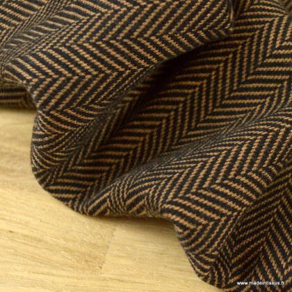 Tissu maille Jacquard motifs chevrons chocolat
