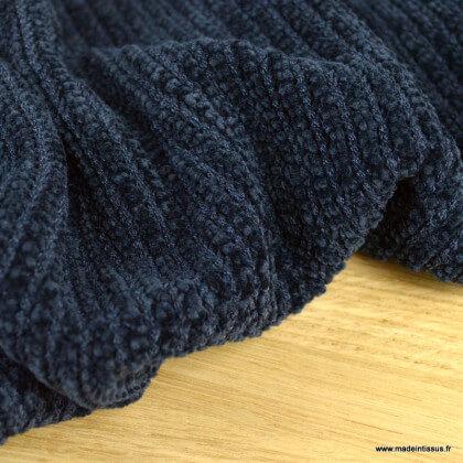 Tissu maille chenille bleu marine