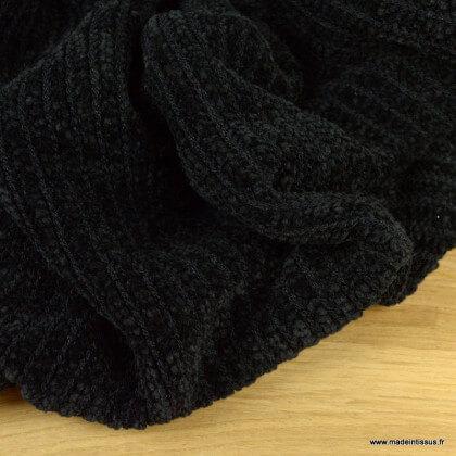 Tissu maille chenille noire