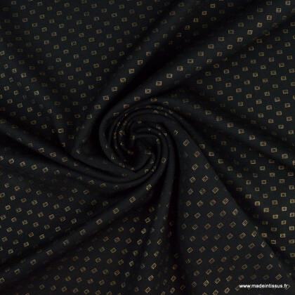 Tissu Jersey milano motifs petits carrés or fond noir