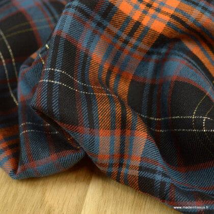 Tissu twill Rayon Lurex à carreaux terracotta, noir et bleu