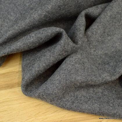 Tissu Drap de laine caban coloris gris mélangé