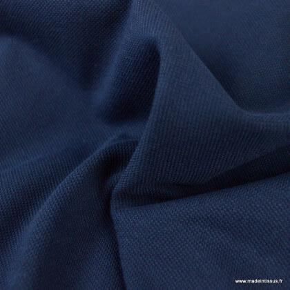 Tissu jersey piqué (maille polo) bleu marine - oeko tex