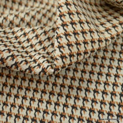 Tissu jersey jacquard motif pied de poule Pumpkin