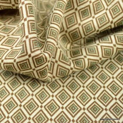 Tissu jersey jacquard motif carré graphiques céladon