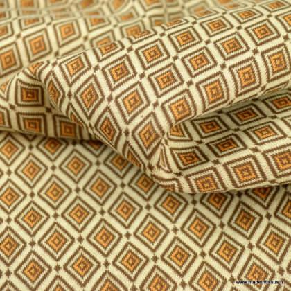 Tissu jersey jacquard motif carré graphiques ocre et chocolat