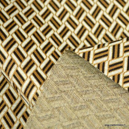 Tissu jersey jacquard motif graphiques Tabac et noir
