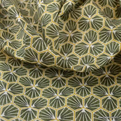 Tissu coton imprimé Riad Kaki - Oeko tex