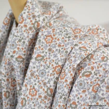Tissu cretonne coton Oeko tex imprimé fleurs caramel et gris