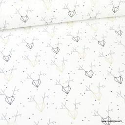 Tissu coton Reneor imprimé rênes géométriques Or - Oeko tex