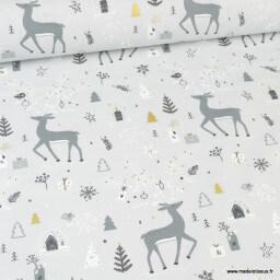 Tissu coton Carybooh motifs de Noël animaux et sapins fond gris - Oeko tex