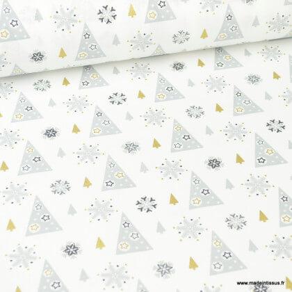 Tissu coton Adelgran motifs sapins et étoiles Or fond gris - Oeko tex