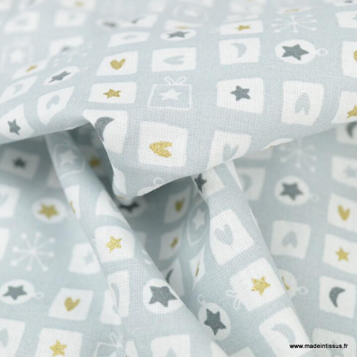 Tissu coton Offrir motifs boules, sapins et cadeaux de noel Or et gris - Oeko tex