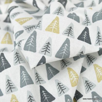 Tissu coton Nopi motifs sapins géométriques or et gris - Oeko tex