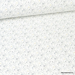 Tissu coton Simia motif étoiles gris et Gold fond blanc - Oeko tex