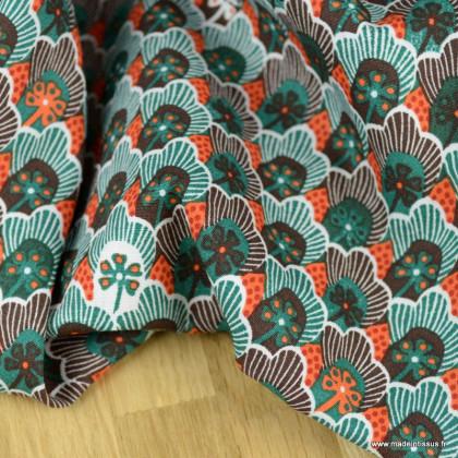 Tissu Popeline motif fleurs et écailles fond pétrole - oeko tex
