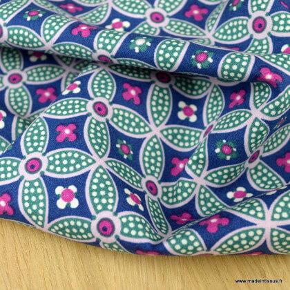 Tissu Popeline motif rosaces fond bleu et fuchsia - oeko tex