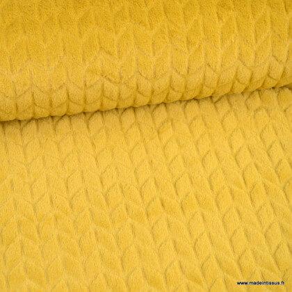 Tissu fausse fourrure chevrons Moutarde