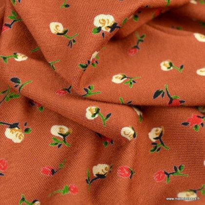 Tissu Jersey de Viscose Issa motif fleurs fond terracotta