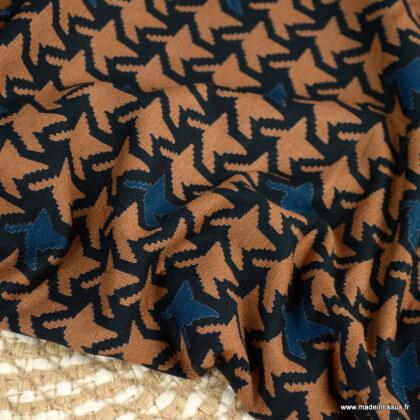 Tissu Jersey de Viscose motif graphique camel et pétrole