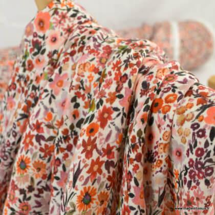 Double gaze de coton Bio Gots & oeko tex motifs fleurs - Poppy