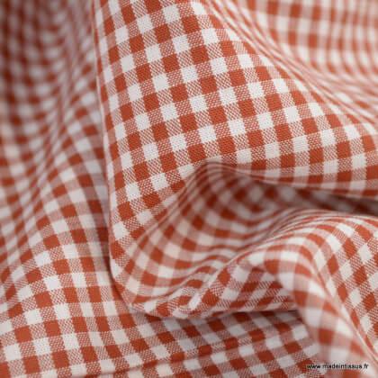 Tissu vichy petits carreaux en coton terracotta - Oeko tex