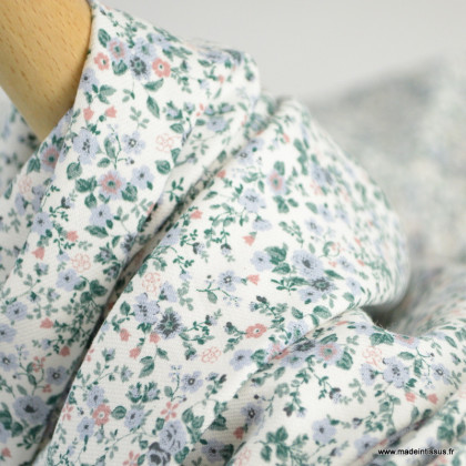 Sergé de coton Bio Gots & oeko tex Lison à petites fleurs bleues