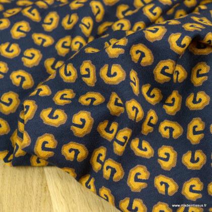 Tissu Jersey de Viscose motif graphique marine et ocre