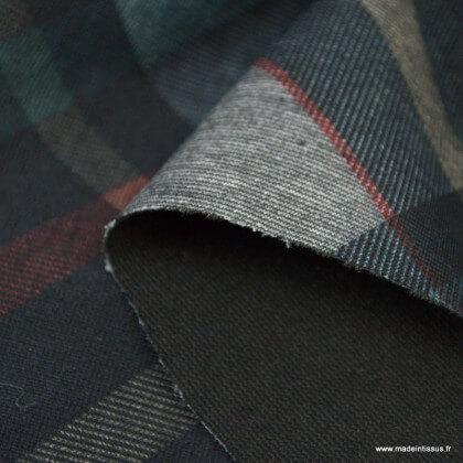 Tissu Jersey milano à carreaux gris et marine