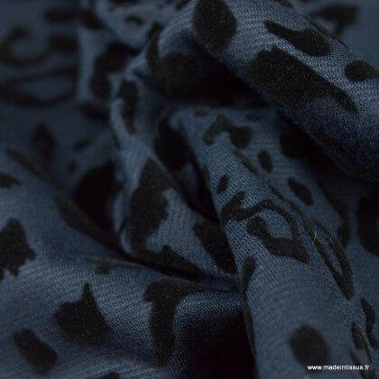 Tissu Jersey milano bleu marine floqué léopard